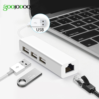 USB Ethernet mit 3 Port USB HUB 2,0 RJ45 Lan Netzwerk Karte USB zu Ethernet Adapter für Mac iOS Android PC RTL8152 USB 2.0 HUB