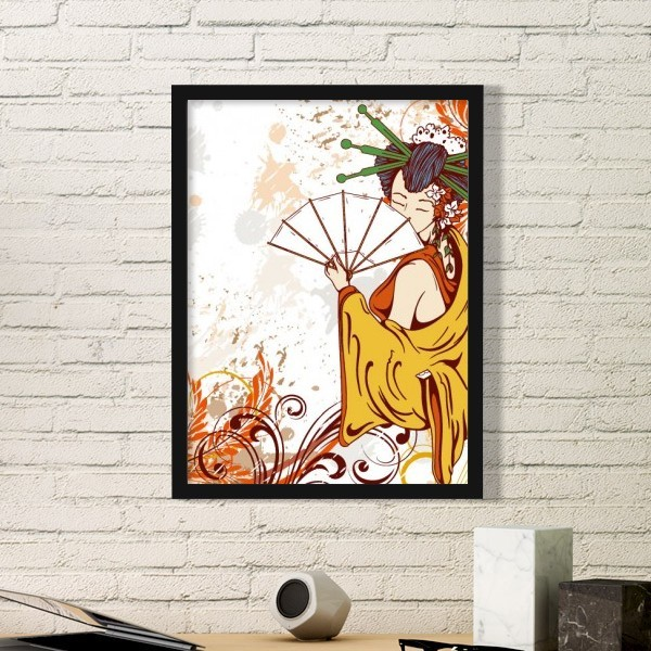 Japan Culture Girl Japanese Style Cranes Sakura Cloud  Illustration Pattern Simple Frame Art Prints of Paintings Home Wall Decal