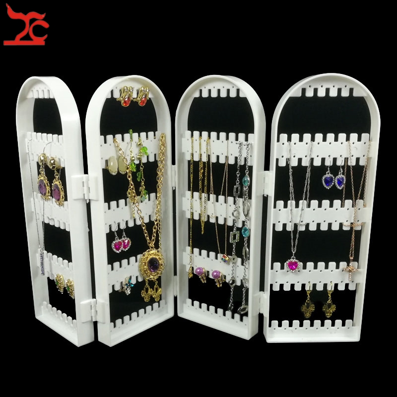 Brand New White Plastic 4Foldable Screen Jewelry Display Storage Holder 240Holes Earring Necklace Bracelet Organizer Stand Shelf