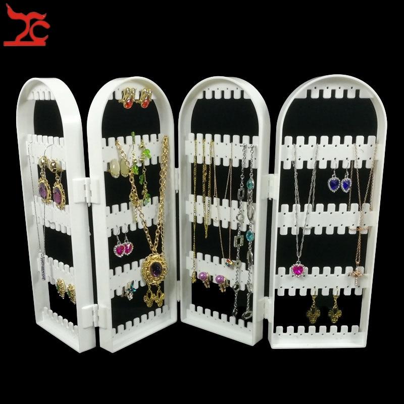 Brand New White Plastic 4Foldable Screen Jewelry Display Storage Holder 240Holes Earring Necklace Bracelet Organizer Stand Shelf