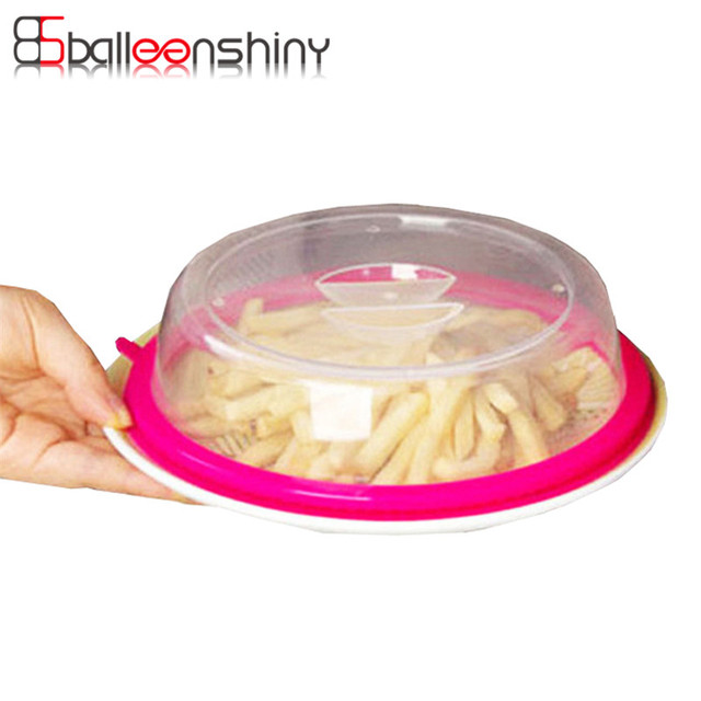 Balleenshiny Plastic Food Covers Microwave Oven Heated Fridge Keep Fresh Container Lid Table Oil Dishes Dustproof