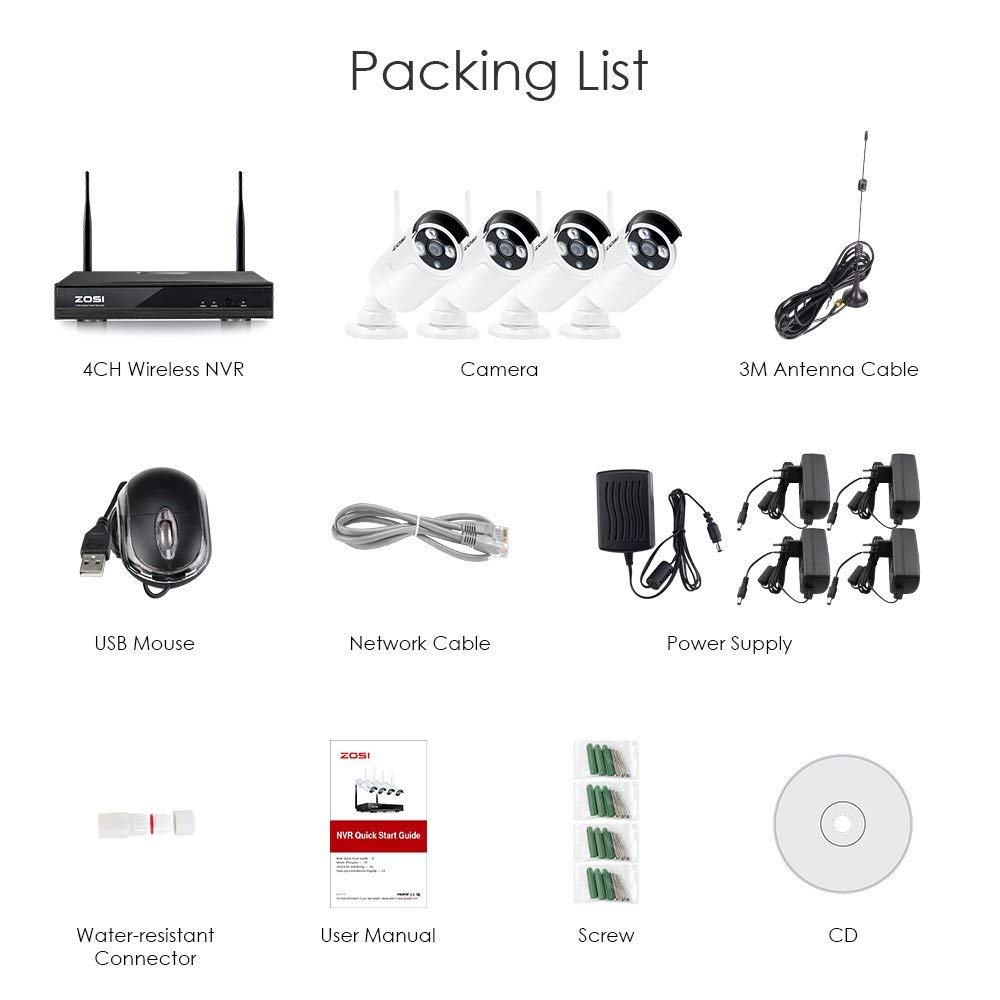 ZOSI Kit NVR 4P 1080p HDMI Wi-Fi 1.3MP Infrarouge Résistant aux Intempéries - 2