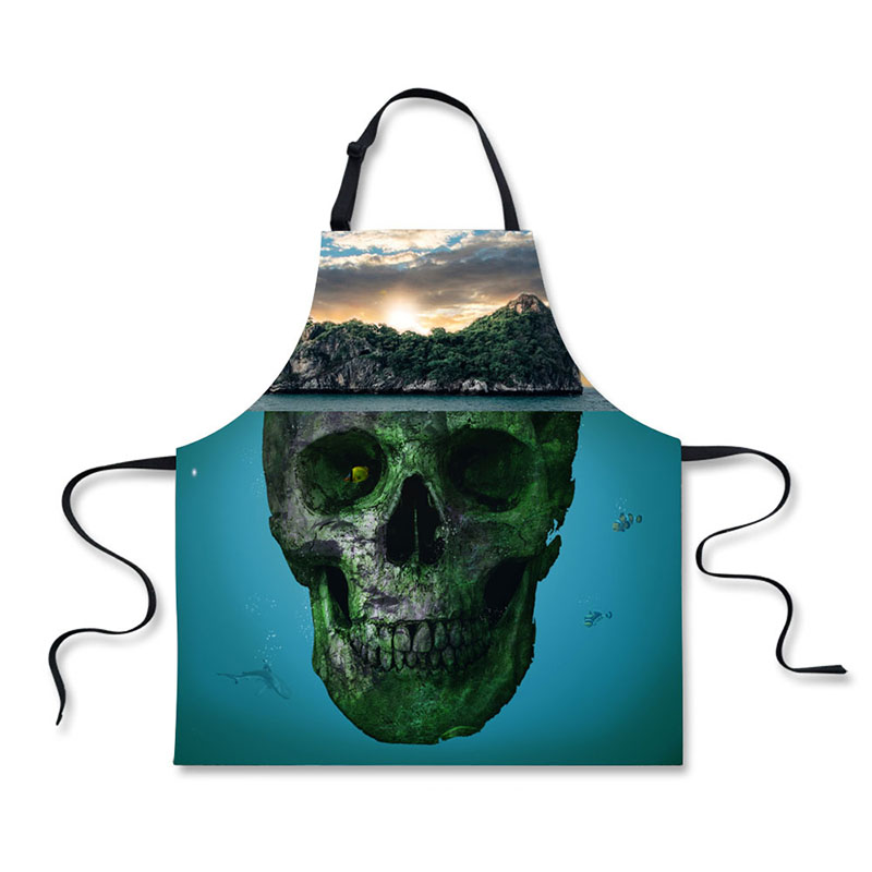 High Quality 3D Printing Skeleton Pattern Home Leisure Fashion Kitchen Supplies Aprons