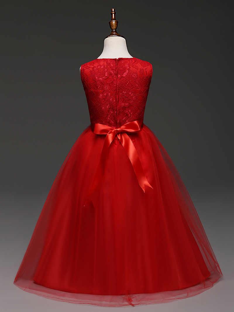 Lace Tea Length Kids Clothes 8 8 8 8 8 8 8 8 8 8 Year Old Girls  Dresses Summer 2018 Children Clothes Girls Wedding Dress