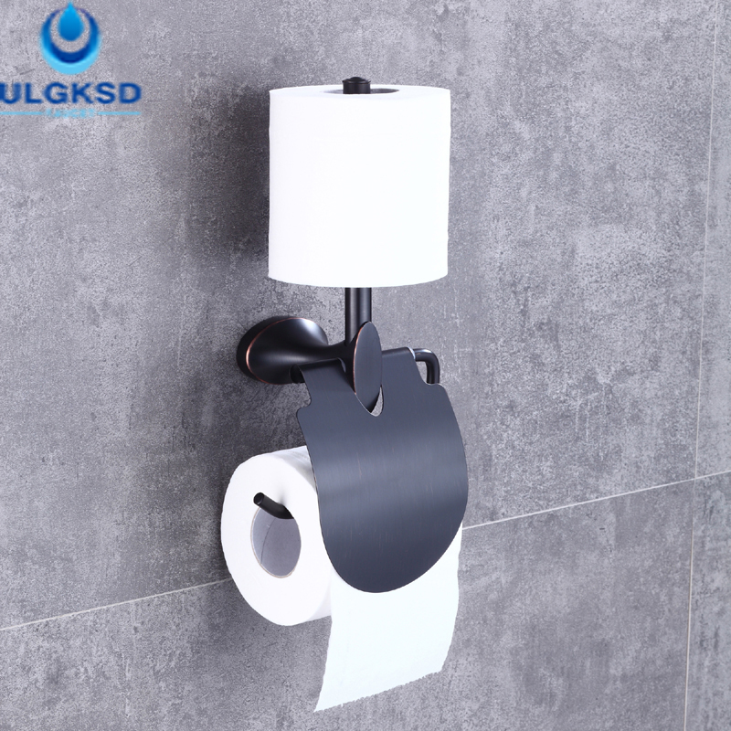 Ulgksd Bath Toilet Paper Racks Bathroom Double Paper Tissue Holder Storage Basket Wall Mounted black of toilet paper all copper toilet tissue box antique toilet paper basket american top hand cartons page 7