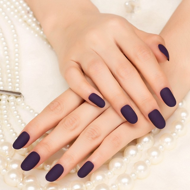 Online Shop 24pcs Sexy Frosted Deep Purple Fake Round Hand Nails ...