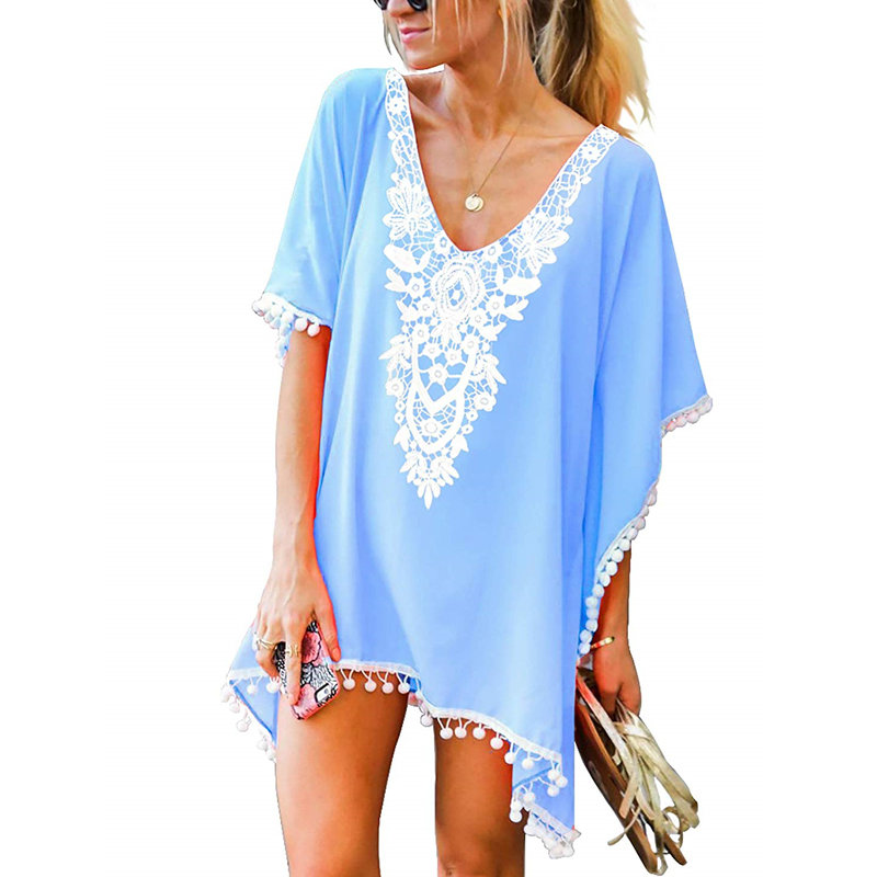 Women's Beach Dress Coverup Casual Sundress Ladies Swimsuit Wrap Pom Pom Trim Kaftan Chiffon Swimwear Beach Cover Up