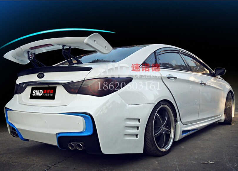 ABS Primer CAR REAR WING TRUNK SPOILER For GT ALL Sedan Universal Fast by EMS (With Lamp)