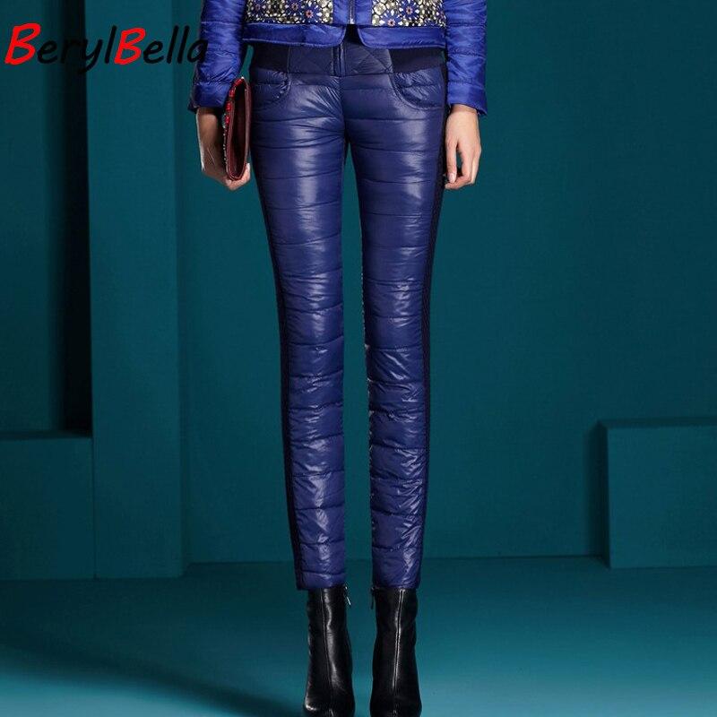 BerylBella Winter Women Pants 2019 Casual High Waist Zipper Slim Double Faced Duck Down Warm Black Bule Pencil Pants Trousers