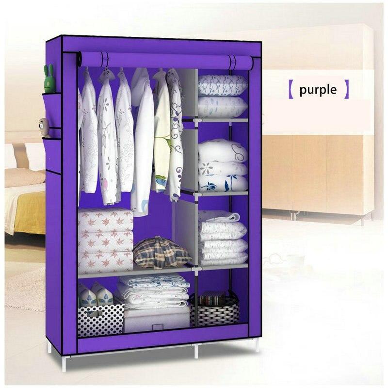 Fashion Purple Dust Proof Non woven Steel Tube DIY Multi Purpose Wardrobe