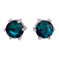 JROSE Delicate New Fashion Round Cut Gorgeous Green Topaz  Silver Stud Earrings Women\'s Jewelry Gift Free Shipping Wholesale