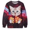 Punk Pullovers Mulheres Hoodies Jacket Moda gatinho comer pizza em 3d Impressas Camisola Mulheres O Pescoço Collar sudaderas mujer