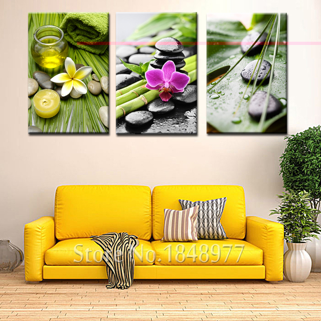 3 Piece Modern Cuadros Decoration Flower SPA Stone Paintings Canvas ...