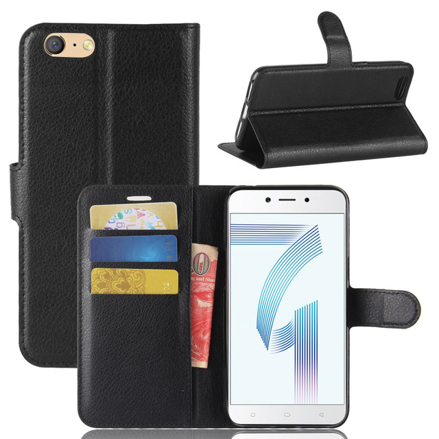 new arrival 0522a 8c2ae US $4.74 5% OFF|A71 Case for OPPO A71 Cases Wallet Card Stent Lichee  Pattern Flip Leather Covers Protect Cover black A 71 for OPPO71-in Wallet  Cases ...