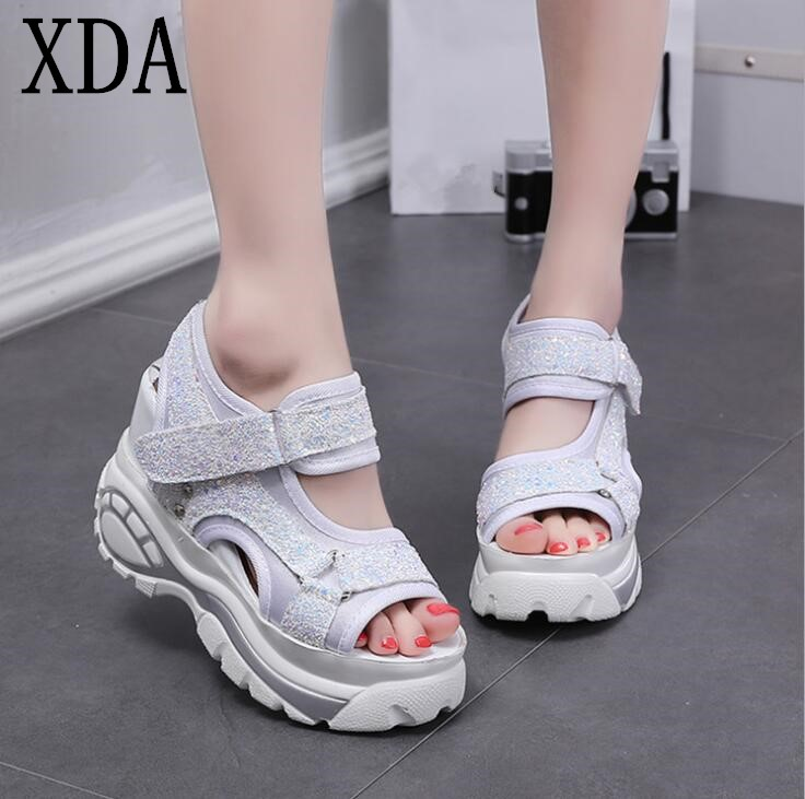 XDA 2018 new sequin Women Sandals Summer Platform Wedges Women Elevator casual Shoes wedge sandals Roman open-toe Sandals F229