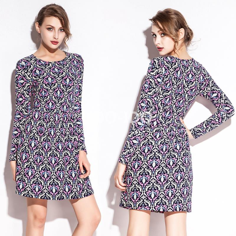 La nouveauté offre spéciale 2016 coton imprimé sexy manches longues serré boîte de nuit robe S. M. L. XL. XXL