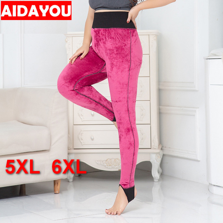 AIDAYOU Winter fleece women   Leggings   free big size soft female Slim Fitness Trousers good Elastic High Waist pants ouc1830