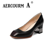 Aercourm A 2017 Autumn High Heels Shoes Woman Genuine Leather Big Size 34-43 Square Head Balck Colors Free Shipping H903