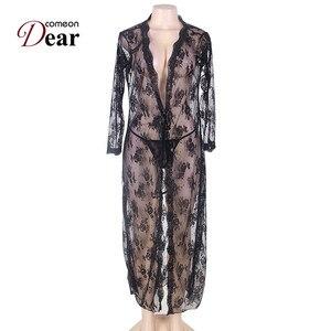 Image 4 - Comeondear 5XL Plus rozmiar koronki sukienka wieczorowa na seks szlafrok z długim rękawem Femme Dentelle kobieta przez czarny koszula nocna RB80232