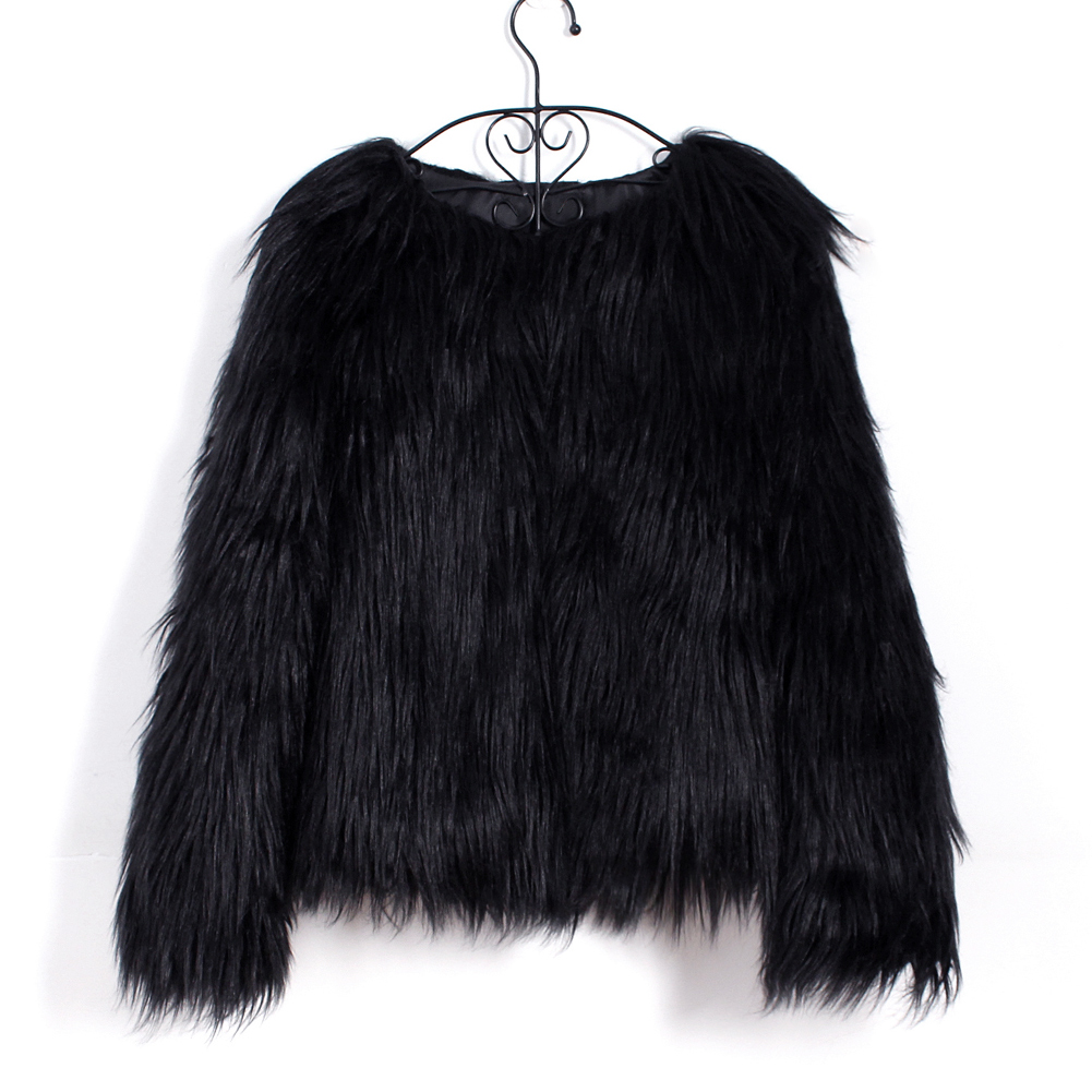 Fashion Furry Faux Fur Coat Women Fluffy Warm Long Sleeve Female Outerwear Autumn Winter Coat Jacket Hairy Collarless Overcoat 26