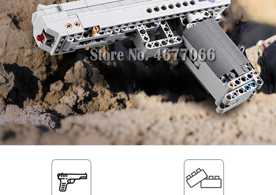 Building Blocks Toy Kit Desert Eagle toy gun for boys fire bullets Technic  DIY bricks Pistol UZI toys for children kids 49