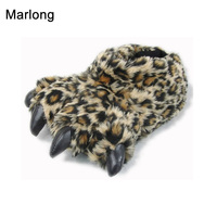 2017 Cartoon Designer Animal Tiger Leopard Autumn Winter Claw Paw Plush Slippers For Women Men Indoor