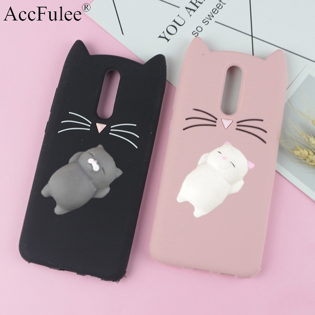 reputable site c4d90 578e6 US $2.95 26% OFF|3D Cute Japan Glitter Bearded Cat Case For Oneplus 6 One  Plus 6 Squishy Cat Cover Silicone Mobile Phone Bags-in Fitted Cases from ...