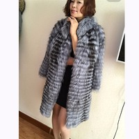 FURCHARM Genuine Women Real Fur Coats Real Silver Fox Natural Fur Parkas Overcoats Winter Warm Female Outwear Clothes