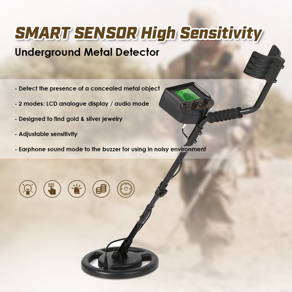 100 240V Underground Metal Detector gold Digger tester for mining Treasure Hunter Scanner Scanning Tool Earphone Buzzer in Industrial Metal Detectors from Tools