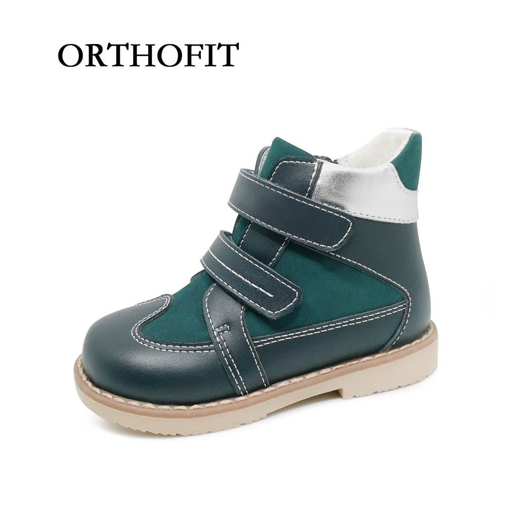 New Model Kids Genuine Leather Casual Boots Children Boy Orthopedic Leather Shoes With Zipper