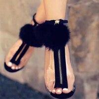 Sandalias de Verano 2017 de Europa de las mujeres Transparentes Señoras Del Dedo Del Pie Abierto Zapatos de Tacón Alto Tobillo Botas Zip Sandalias Mujer de Verano Negro