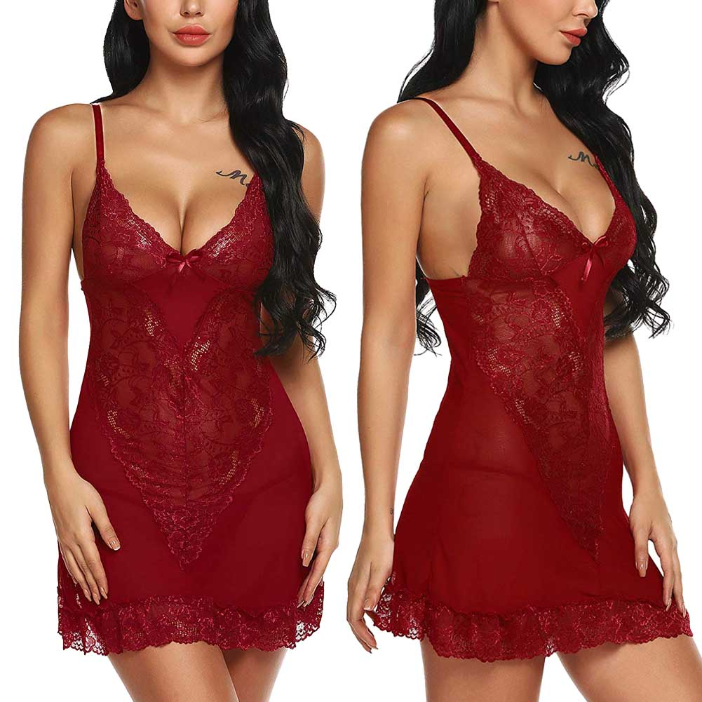 <font><b>XXL</b></font> Hot <font><b>Sexy</b></font> <font><b>Lingerie</b></font> Women Erotic Lace Straps Babydoll Sleepwear Robe Dress Mesh Sheer G-string See Through Underwear image