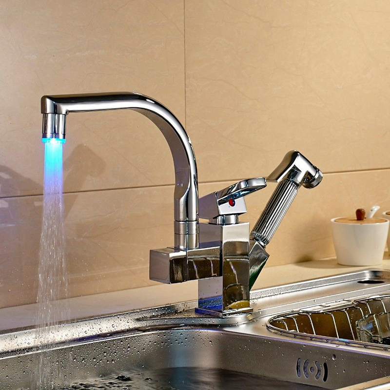 Chrome Brass Kitchen Faucets LED Spout Pull Out Vessel Sink Sprayer Mixer Tap Single Hole Faucet Swivel Spouts chrome swivel spout spray kitchen single hole sink faucet 92282 basin sink water tap vessel lavatory faucets mixers tap