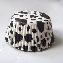 100 шт белая корова/Зебра/леопард животные печати камуфляж полоса Кекс Лайнер Маффин форма для выпечки торт