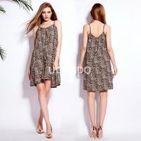 De nieuwe 2016 buitenlandse handel jurk modeshow dunne bandjes jurk sexy backless afdrukken strand jurk