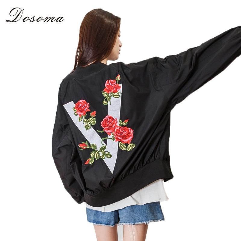DOSOMA Autumn Women Printed Rose Black Bomber Jacket Stand Collar Zipper Flight Jacket Casual Loose Sweet Jacket Windbreaker