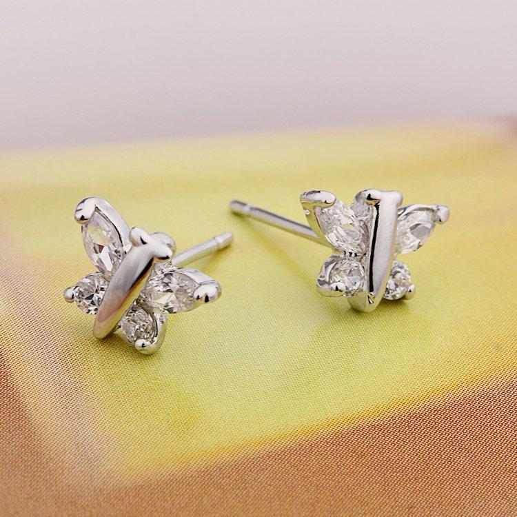 Sale 2016 Butterfly Stud Earrings Crystal Zircon Bijoux Women Earring Brincos Ouro Gold Joias Bijouterie Jewelry Costume EW 51 in Stud Earrings from Jewelry Accessories
