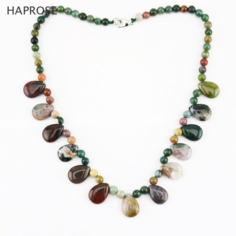 Indian colored agate drop shaped pendant agate necklace Multicolor round agate ball lobster clasp 18 inches necklace gift