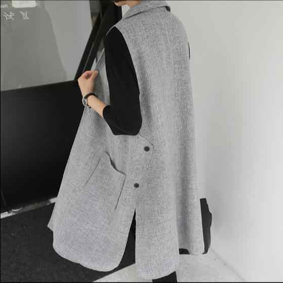 2018 New Casual Side Buttons Split Faux Suede Women Long Vest Coat Female Solid Pockets Soft Open Stitch Colete feminino Tops