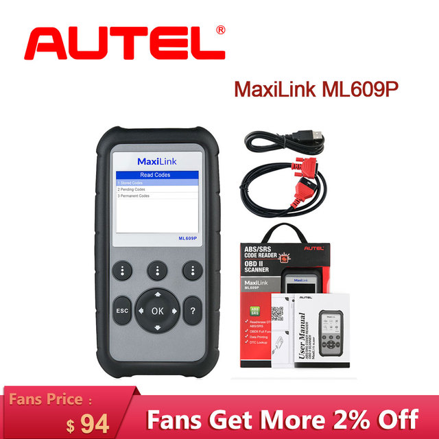 Autel MaxiLink ML609P Auto Car obd2 Scanner diagnostic tool Code Reader OBD2 connector stethoscope Scan Tool airbag simulator