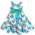 2017 nuevo estilo del verano vestido de la muchacha de flor de lis imprimir vestido de algodón muchachas del vestido ropa niños vestidos para niñas ropa de los niños