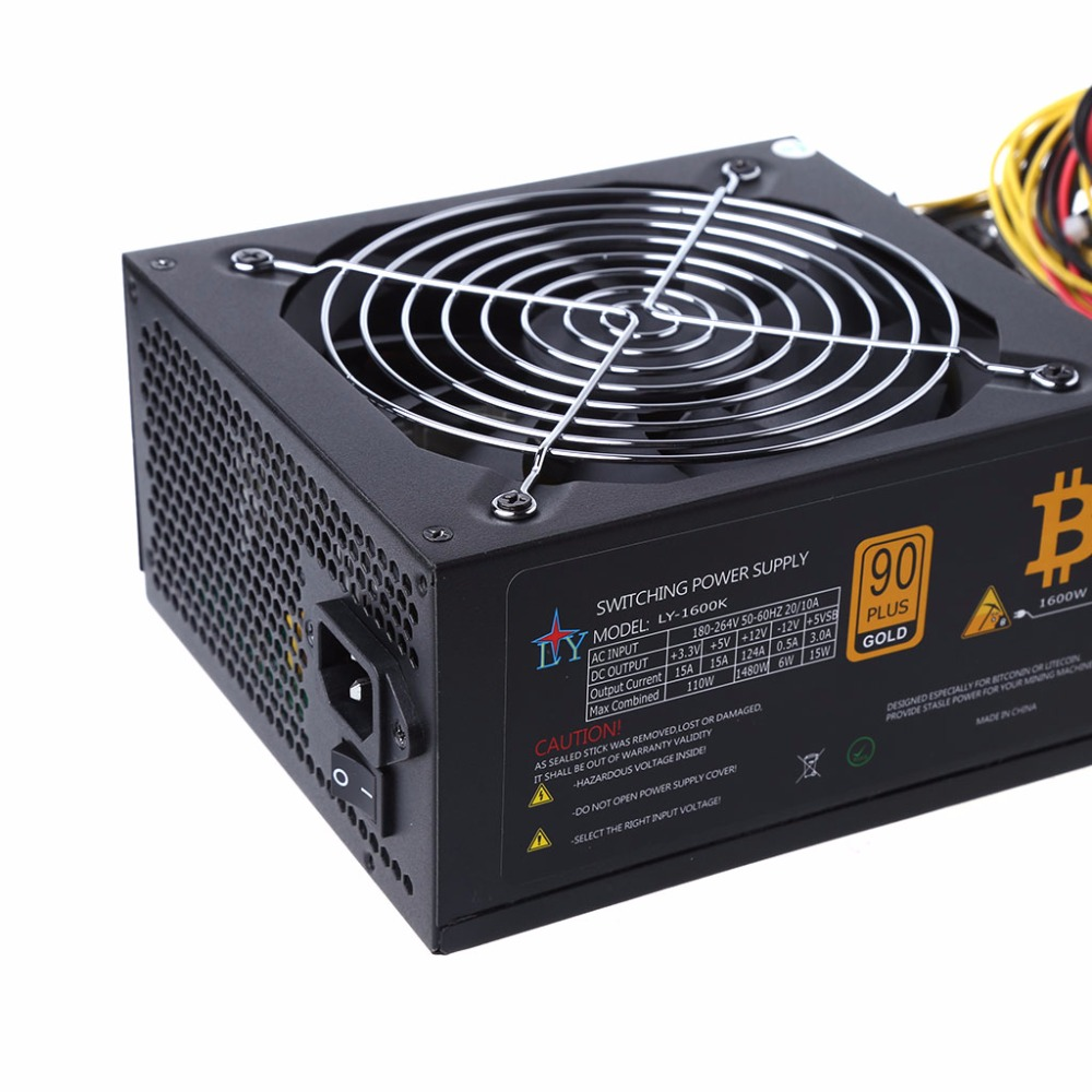 1600W ATX Power Supply 14cm Fan Set For Eth Rig Ethereum Coin Miner ...