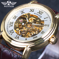 Winner Brand Leather Men Male Military Clock Automatic Skeleton Automatic Mechanical Watch Vintage Luxury Quality Gift