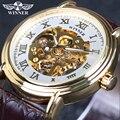 Ganador marca hombres de cuero de hombre militar reloj automático Esqueleto mecánico automático Del Reloj de regalo de calidad de lujo de La Vendimia Steampunk