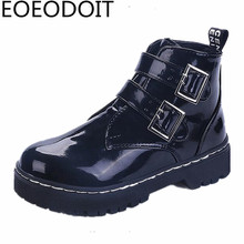 2017 Autumn Winter Motorcycle Boots Medium Heel Square Heel Martin Boots Women Leather Round Toe Platform