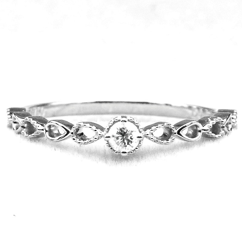 все цены на Art Nouveau Solid 10k White Gold Natural White Sapphire Women Engagement Wedding Ring Party Fine Jewelry онлайн