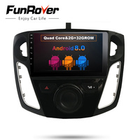 Funrover Android 8,0 Quad core 2 ГБ dvd плеер автомобиля для Ford Focus 3 Focus 2012 2013 2014 2015 Canbus gps навигации Bluetooth RDS