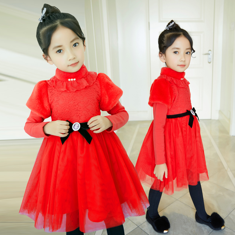 New Year Girl Dress Princess Costume Long Sleeve Christmas Dresses Red Kids Clothes Flower Bow Robe Fille Children Vestido 4-11y robe fille tutu dresses for girls clothes with bag reine des neiges flower girl dress princess costume vestido children clothing