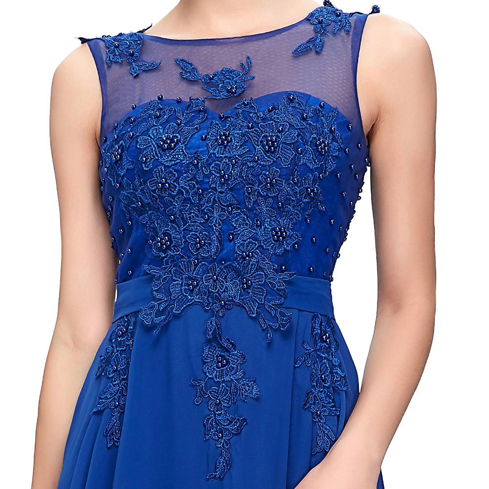 Grace Karin Elegant Long Evening Dresses 2016 Chiffon Pink Purple Red Royal Blue Black Formal Evening Dress Gown Abendkleider 63