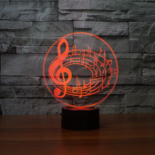 3D LED 7 Colors LED Musical Notes Shape USB Lamp Home Decor Lamparas Table Lights Bedroom Bedside Baby Sleeping Gifts Nightlight(China)